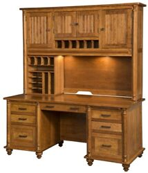 Amish Shaker Executive Computer Desk File Hutch Rosemont Solid Wood