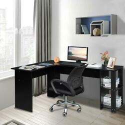 L-shaped Wooden Black Computer Desk Home Office Laptop PC Table $130.90