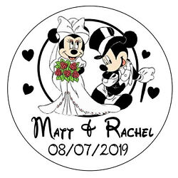 DISNEY MICKEY & MINNIE WEDDING FAVORS ROUND STICKERS LABELS FOR YOUR FAVORS