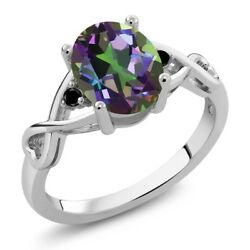 1.86 Ct Oval Green Mystic Topaz Black Diamond 925 Sterling Silver Ring