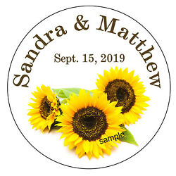 SUNFLOWER WEDDING BRIDAL SHOWER TAGS STICKERS LABELS FOR YOUR FAVORS