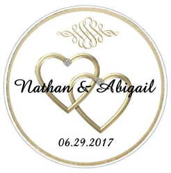 GOLD HEARTS WEDDING FAVORS BRIDAL SHOWER TAGS STICKERS LABELS FOR YOUR FAVORS
