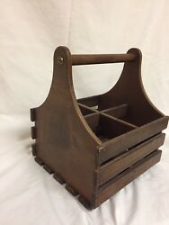 Vintage Handmade Wooden Tool Caddy Box Carpenter Toolbox Herb Garden Planter