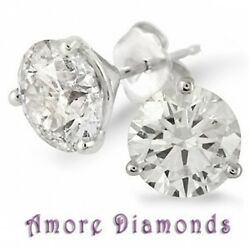 16.1 GIA K VS2 natural round ideal cut diamond 3 prong martini studs platinum