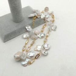 White Keshi Pearl Pendant Necklace Yellow Gold Cz Chain 22#x27;#x27; $24.00