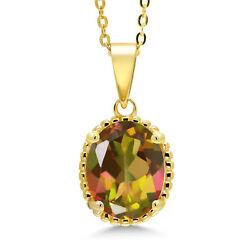 4.50 Ct Oval Mango Mystic Topaz 18K Yellow Gold Plated Silver Pendant With Chain