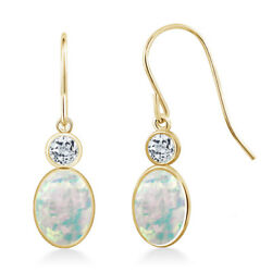 1.54 Ct Oval Cabochon White Simulated Opal White Topaz 14K Yellow Gold Earrings