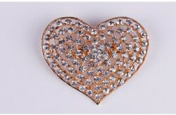 LARGE GOLD TONE HEART DIAMANTE RHINESTONE CRYSTAL WEDDINGPARTY BROOCH