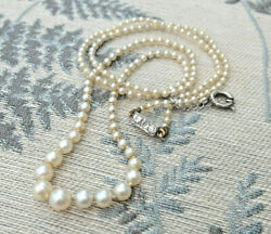 Vintage Art Deco Natural Saltwater Pearl Old Cut Diamond 48cm Necklace Certified