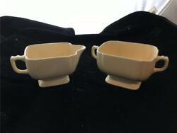 Homer Laughlin Riviera Ivory Creamer amp; Sugar Bowl $13.99