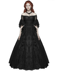 Punk Rave Gothic Wedding Dress Long Black Lace Steampunk Victorian Prom Ballgown