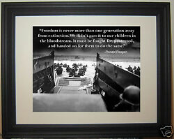 Ronald Reagan Quote World War 2 D-Day WWII Framed & Matted Photo Photograph
