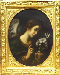 Large 18th Century Italian Old Master Angel Flowers Oil Painting Gold Frame