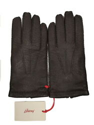 Brioni Gloves SIze 9 ML Dark brown Peccary leather Cashmere-lined
