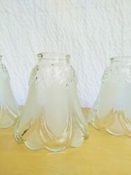 3 Beautiful Vintage Frosted Clear Glass Ceiling Fan Light Shade Hanging Free Shi $39.99