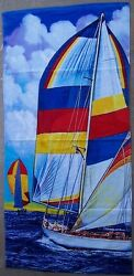 Beach Blanket Towel Sail Boats 30