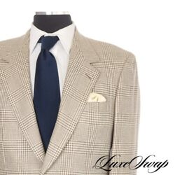 100% Bijan Made in Italy Stone Cream Flannel Prince of Wales Plaid Jacket 40 50