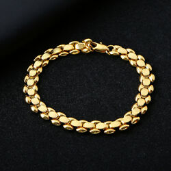 Fashion cute promise womens yellow Gold Filled Beading Bracelet jewelry