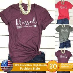2019 New Summer Women Blessed Arrow Letters Printed Casual Tops Tee T-Shirt