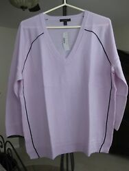 JCREW MERINO WOOL TIPPED SIDE PANEL V-NECK SWEATER LILAC NAVY A0822 LARGE NWT