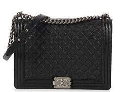 CHANEL Extra Large Black Quilted Caviar Boy Bag Purse EUC ~ Timeless style!