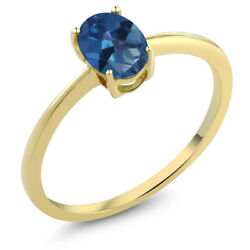 0.80 Ct Oval Blue Mystic Topaz 10K Yellow Gold Solitaire Engagement Ring