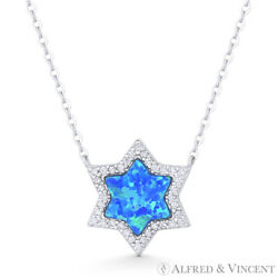 Star of David Magen Pendant Pacific Blue Lab Opal .925 Sterling Silver Necklace