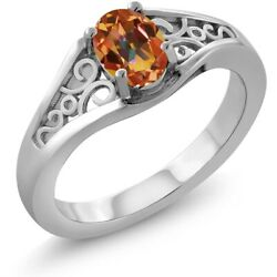 0.95 Ct Oval Ecstasy Mystic Topaz 925 Sterling Silver Ring