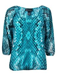 INC International Concepts Women's Printed Mesh Peasant Top (S Exotic Snake)