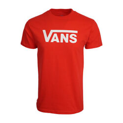 VANS MENS LOGO T SHIRT RED WITH WHITE