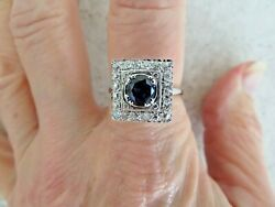 ANTIQUE 14K WHITE GOLD .52 CT MINERS CUT DIAMONDS & 1.38 CT SAPPHIRE RING
