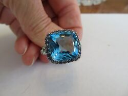 18K WHITE GOLD DIAMOND & .79 CT SAPPHIRE & 12.05 CT BLUE TOPAZ RING SZ 7