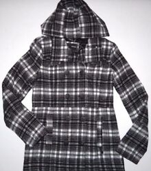 New Hurley Womens Button Up Wool Blend Peacoat Hooded Jacket Small