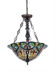 Reverse Pendant Hanging Victorian Design Stained Cut Glass Ceiling Light $197.60