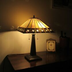Tiffany Style 2 Bulb Stained Glass Table Desk Lamp 16