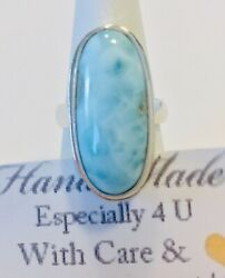 Amazing  LARGE handcrafted AAA Larimar   ring   925 silver size  8