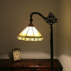 Tiffany Style Arts amp; Crafts Mission Stained Glass Floor Lamp Shade Green amp; Beige $186.66