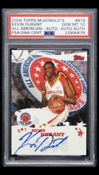 2006-07 Topps McDonald's All American Kevin Durant RC AUTO PSA 10 PSADNA POP 2