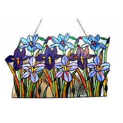 Tiffany Style Stained Glass Window Panel Handcrafted Colorful Iris Floral Design $141.34