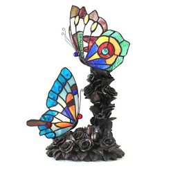 Tiffany Style Double Butterfly Accent Nursery Night Light Stained Glass Lamp $129.00
