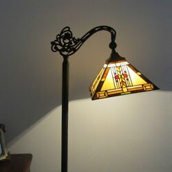 Tiffany Style 1 Bulb Mission Stained Glass Floor Reading Lamp 11quot; Wide Shade $193.31