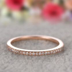 Eternity White Sapphire Simple Ring Rose Gold Stackable Band Jewelry Size5-10