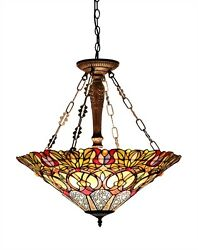 24quot; Inverted Victorian Pendant Hanging Ceiling Light Fixture Stained Cut Glass $251.75