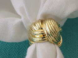 HENRY DUNAY DESIGNER SOLID 18K YELLOW GOLD RIBBED 15 MM WIDE RING SZ 5