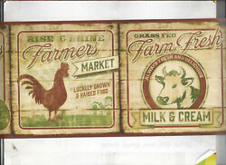 COUNTRY KITCHEN COW ROOSTER EGGS NEW ARRIVAL WALLPAPER BORDER FARM WOOD $13.99