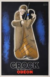 GROCK CLOWN IN EXCLUSIVITY FOR ODEON DISC - VINTAGE POSTER 1929