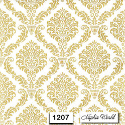 1207 TWO Individual Paper Luncheon Decoupage Napkins GOLD DESIGN PATTERN $2.00