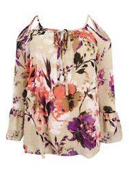 INC International Concepts Women's Floral Cold-Shoulder Top