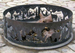 P&D Metal Works Outdoor Campfire Fire Ring w Whitetail Deer Design 48 in. Dia.