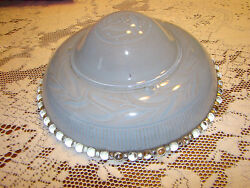 VTG Antique LIGHT LAMP THICK GLASS LIGHT OVERHEAD SHADE BLUE ART DECO 3 hole $21.99